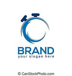 stopwatch, logo, mal, ontwerp, plat