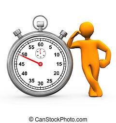 Stopwatch Manikin - Orange cartoon character with stopwatch....
