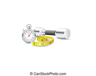 Stopwatch, measuring tape and dumbb - Composition of healthy...
