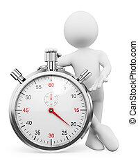 stopwatch, mensen., man, witte , 3d