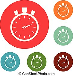 Stopwatch modern icons circle set vector