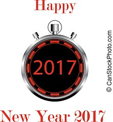 stopwatch on  white background with numbers 2017 Happy New Year
