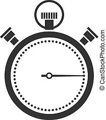 stopwatch or chronometer icon black silhouette on white...
