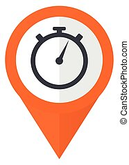 stopwatch orange pointer vector icon in eps 10 isolated on white background.