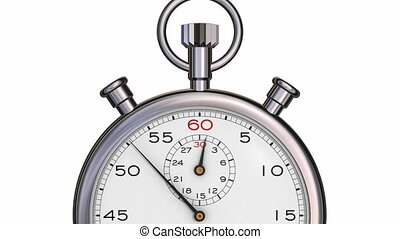 Stopwatch zoom in showing hand passing through one minute