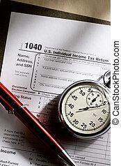 stopwatch, pen, belasting, rood, vorm