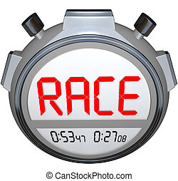 Stopwatch Records Race Time - Fast Racing Event Timer