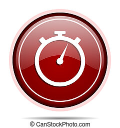 stopwatch red glossy round web icon. Circle isolated internet button for webdesign and smartphone applications.