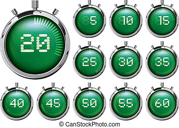 Stopwatch. Set of green digital tim