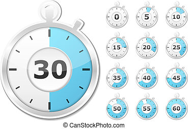 Stopwatch - Set of paper timers, vector eps10 illustration