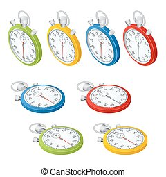 Stopwatch. Set of timers. Time to work. Time is running out. Clock, Stopwatch soaring up. Vector 3d isometric illustration.