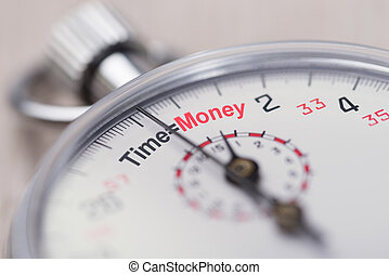 Stopwatch Showing Time Equals Money Sign - Closeup of ...