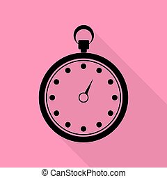 Stopwatch sign illustration. Black icon with flat style shadow path on pink background.