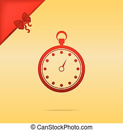 Stopwatch sign illustration. Cristmas design red icon on gold background.