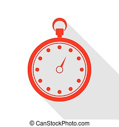 Stopwatch sign illustration. Red icon with flat style shadow path.