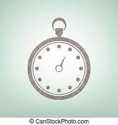 Stopwatch sign illustration. Vector. Brown flax icon on green background with light spot at the center.