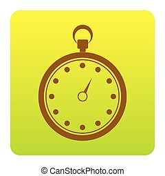 Stopwatch sign illustration. Vector. Brown icon at green-yellow gradient square with rounded corners on white background. Isolated.