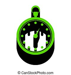 Stopwatch sign illustration. Vector. Green 3d icon with black si