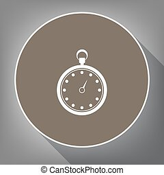 Stopwatch sign illustration. Vector. White icon on brown circle with white contour and long shadow at gray background. Like top view on postament.