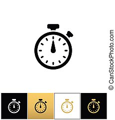 Stopwatch sign or quick accurate analogue clock chronometer timer vector icon