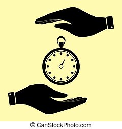 Save or protect symbol by hands. - Stopwatch sign. Save or...