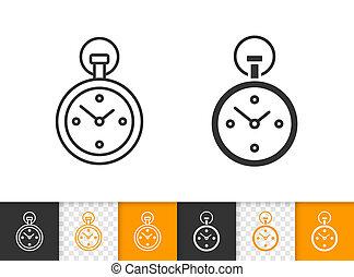 Stopwatch simple black line vector icon
