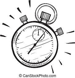 Doodle style stopwatch or timer illustration in vector format suitable for web, print, or advertising use.