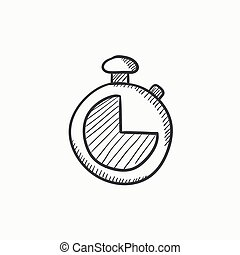Stopwatch sketch icon.