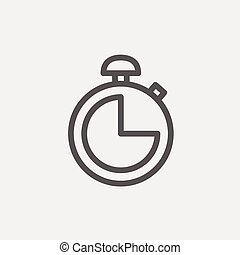 Stopwatch thin line icon