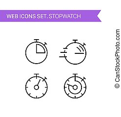 Stopwatch. Thin line icons vector set