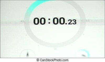 stopwatch, .time, is, rennende , uit., close-up, van, stop-watch, op, de, telefoon.