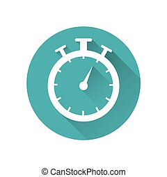 Stopwatch timer icon, button, vector illustration on a blue background with a long shadow