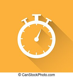 Stopwatch timer icon vector illustration on a yellow background with shadow