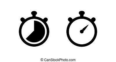 Stopwatch vector icon set for graphic design, logo, web site, social media, mobile app, ui illustration
