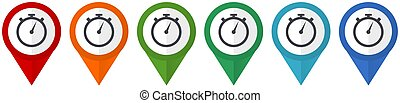 stopwatch vector pointers, set of colorful flat design icons isolated on white background