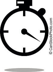 stopwatch web black icon isolated on white background. vector illustration