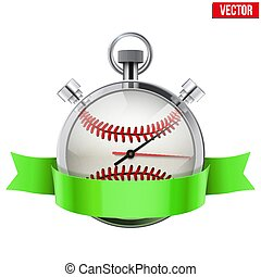 Stopwatch with baseball ball inside. Sport and training vector illustration.