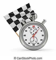 Stopwatch with checkered flag. Start - finish.
