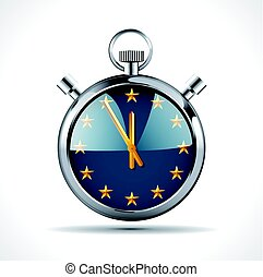 Stopwatch with EU flag - Time for Europe concept