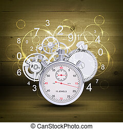 Stopwatch with figures and gears