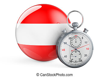 Stopwatch with flag of Austria, 3D rendering