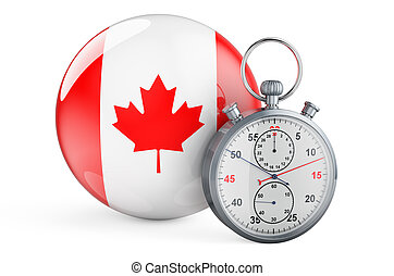 Stopwatch with flag of Canada, 3D rendering