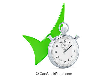 Stopwatch with green check mark, 3D rendering