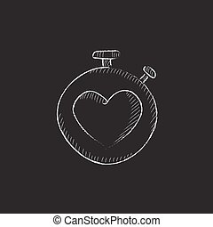 Stopwatch with heart sign. Drawn in chalk icon.