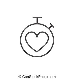 Stopwatch with heart sign line icon.