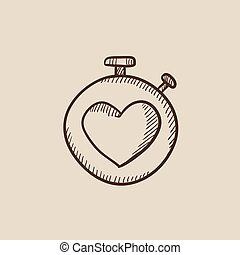 Stopwatch with heart sign sketch icon.