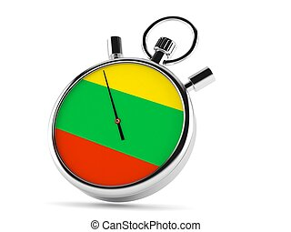Stopwatch with lithuanian flag isolated on white background...