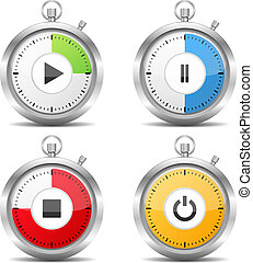 Stopwatch with play, pause and stop buttons, vector eps10...