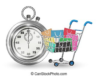 stopwatch with shopping cart on white background