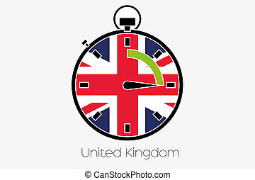 Stopwatch with the flag of United Kingdom